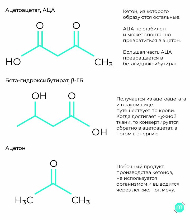 три вида кетонов и их структура: ацетоацетат,АЦ, бета-гидроксибутират, бета-ГБ и ацетон